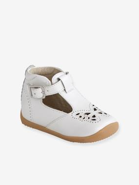 Vertbaudet Collection-Shoes-Leather Shoes for Baby Girls, Designed for First Steps