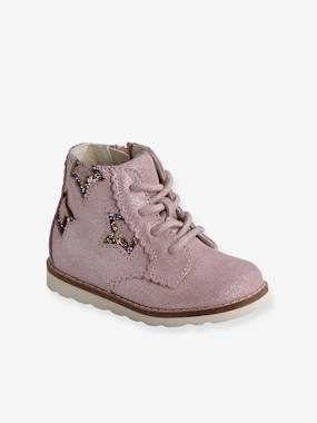 Vertbaudet Sale-Shoes-Leather Lace-up Boots for Baby Girls
