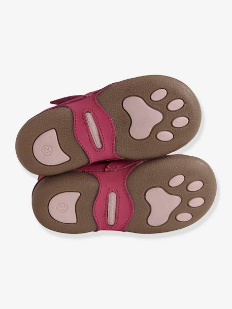 Baby Soft Leather Slippers GREY MEDIUM METALLIZED+PINK MEDIUM SOLID WITH DESIG - vertbaudet enfant