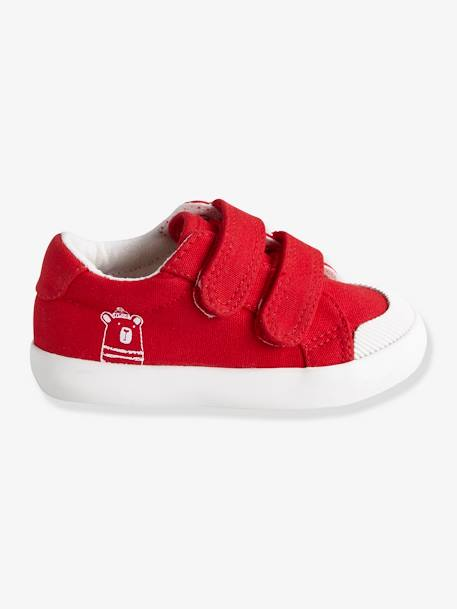 Touch-Fastening Trainers in Canvas for Baby Boys BLUE MEDIUM TWO COLOR/MULTICOL+RED MEDIUM SOLID WITH DESIG+WHITE LIGHT SOLID - vertbaudet enfant