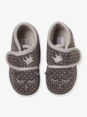 Shoes-Baby Footwear-Slippers with Touch Fasteners, in Embroidered Velour, for Baby Girls