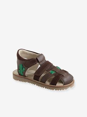 Vertbaudet Sale-Shoes-Boys Footwear-Touch Fastening Leather Sandals for Boys