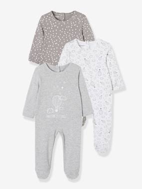 Baby-Pyjamas-Babies' Pack of 3 Cotton Pyjamas, Press-studs on the Back