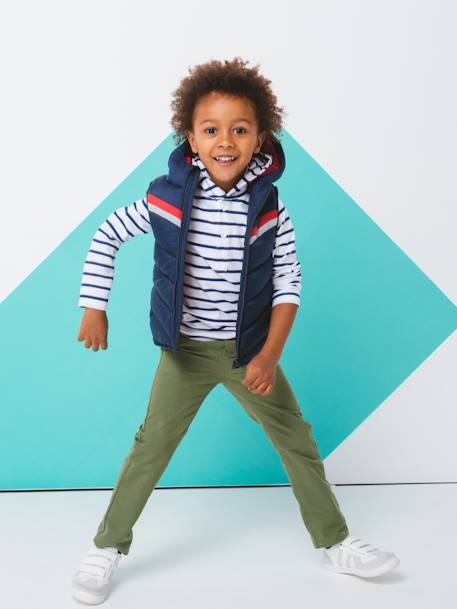Boys' Indestructible Straight Cut Trousers BLUE BRIGHT SOLID+BLUE DARK SOLID+BROWN DARK SOLID+BROWN MEDIUM SOLID+GREEN DARK SOLID+GREEN LIGHT SOLID+RED DARK SOLID - vertbaudet enfant