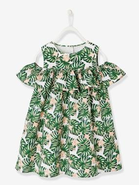 Festive favourite-Girls-Cold Shoulder Printed Dress for Girls