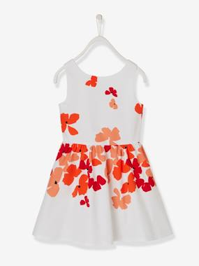 Girls-Occasion Wear Dress with Printed Poppies