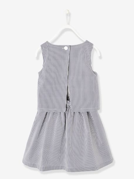 Striped Occasion Wear Dress with Pretty Bow, for Girls BLUE DARK STRIPED+ORANGE BRIGHT STRIPED - vertbaudet enfant