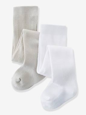 Bébé-Chaussettes, Collants-Lot de 2 collants bébé fille