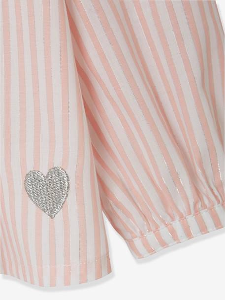Blouse with Iridescent Stripes for Girls PINK LIGHT STRIPED - vertbaudet enfant