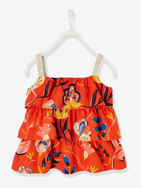 Frilly Top for Girls ORANGE BRIGHT ALL OVER PRINTED+WHITE LIGHT ALL OVER PRINTED - vertbaudet enfant