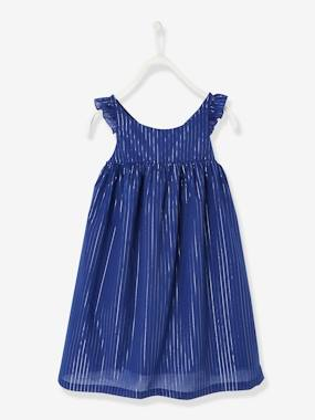 Festive favourite-Girls-Long Occasion Wear Dress with Iridescent Stripes