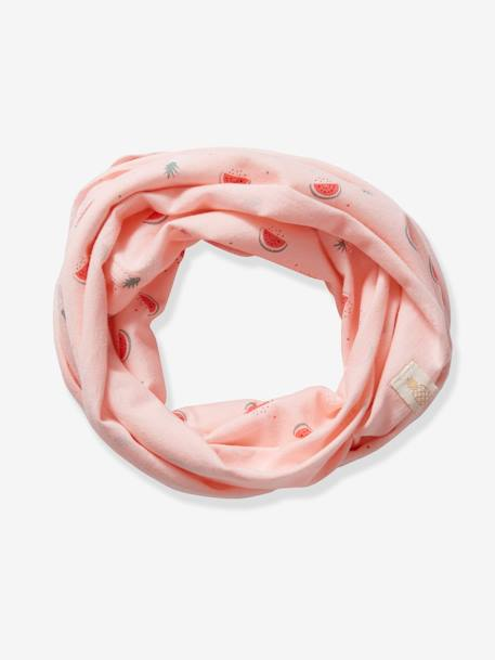 Infinity Scarf with Fruit Motifs for Baby Girls PINK LIGHT ALL OVER PRINTED - vertbaudet enfant