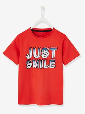 "Boys-Tops-T-Shirts-T-Shirt for Boys, ""just smile"" Inscription"