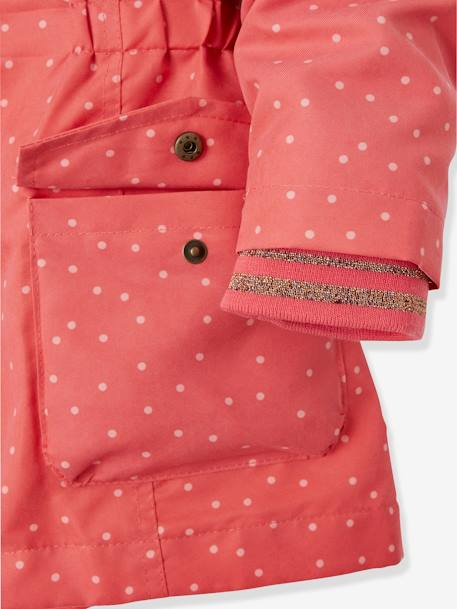 3-in-1 Parka for Girls BLUE DARK SOLID+PINK MEDIUM ALL OVER PRINTED - vertbaudet enfant
