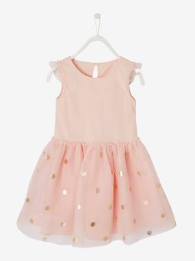Girls-Occasion Wear Dress for Girls, in Tulle with Iridescent Polka Dots