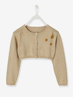 Festive favourite-Girls-Iridescent Bolero Cardigan for Girls, Flower Appliqués