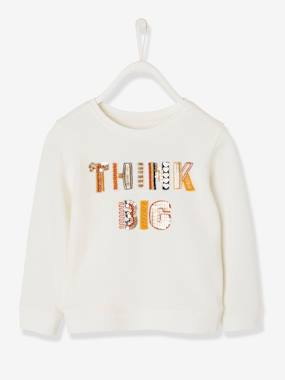 Mid season sale-Girls-Cardigans, Jumpers & Sweatshirts-Sweatshirt with Embroidered Inscription and Sequins for Girls