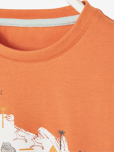 African Print Short-Sleeved T-Shirt for Boys ORANGE DARK SOLID WITH DESIGN - vertbaudet enfant