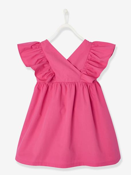 Dress with Ruffles on the Sleeves for Girls GREEN BRIGHT SOLID+PINK BRIGHT SOLID+YELLOW DARK SOLID - vertbaudet enfant