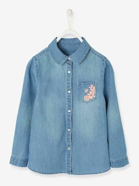 haut-Denim Shirt with Embroidered Pocket for Girls