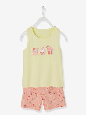 Mid season sale-Girls-Nightwear-Dual Fabric Short Pyjamas for Girls, Cupcakes