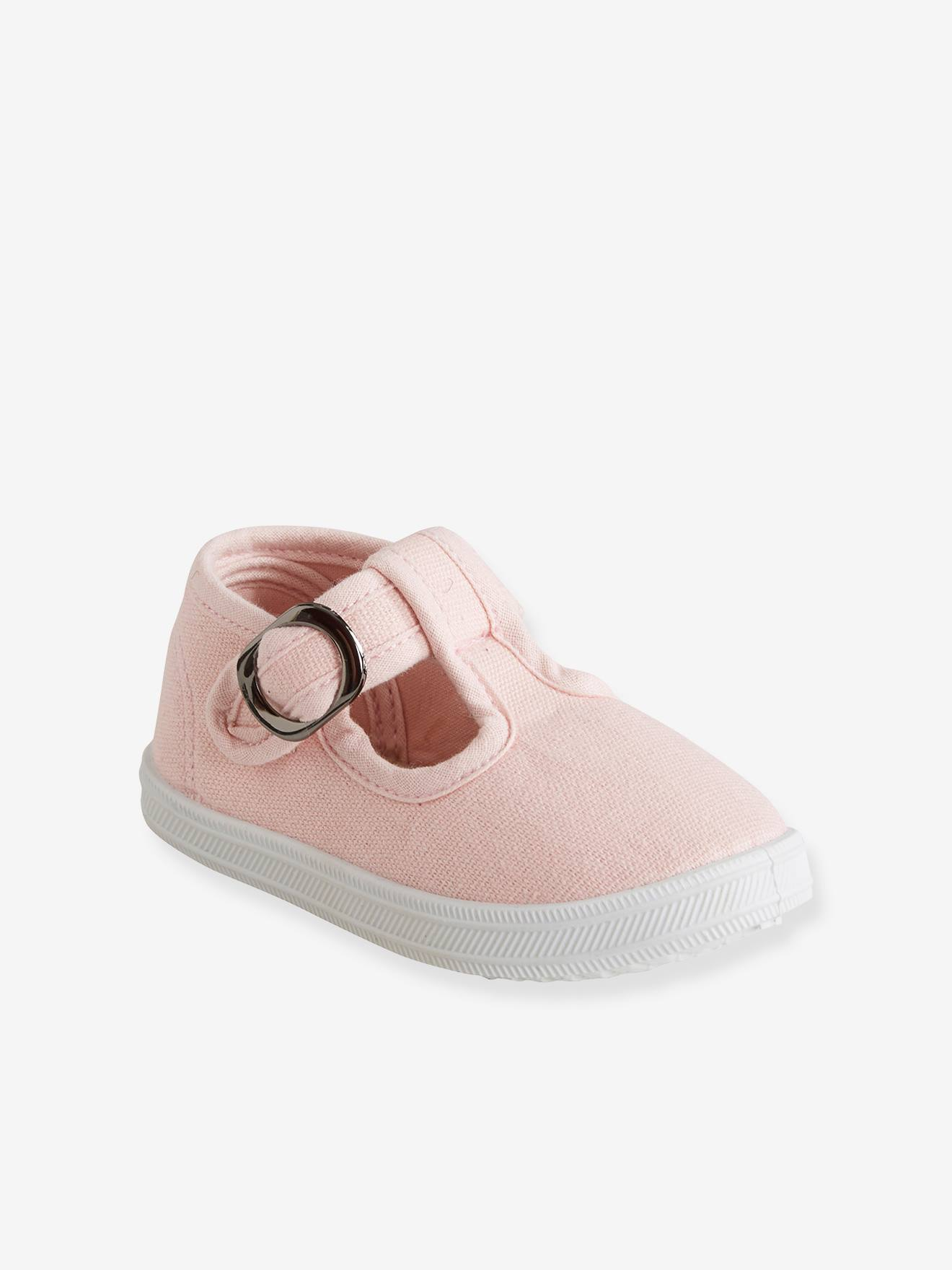 T Strap Sandals for Baby Girls, Designed for First Steps pink light solid, Shoes