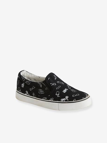 Slip-on Trainers for Boys BLACK LIGHT ALL OVER PRINTED - vertbaudet enfant