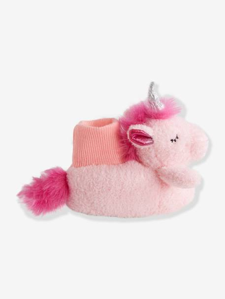 Plush Slippers for Baby Girls PINK MEDIUM SOLID WITH DESIG - vertbaudet enfant