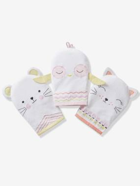 Bedding & Decor-Bathing-Bath Capes-Pack of 3 Bath Mitts, Animals