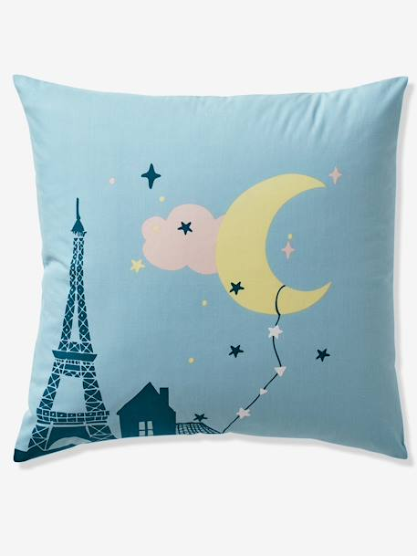 Duvet Cover + Pillowcase Set for Children, Moonlight Theme BLUE MEDIUM SOLID WITH DESIGN - vertbaudet enfant