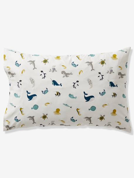 Duvet Cover + Pillowcase Set for Children, Marine Animal Alphabet Theme WHITE LIGHT SOLID WITH DESIGN - vertbaudet enfant