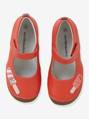 Vertbaudet Collection-Leather Shoes with Touch-Fastening Tab, for Girls