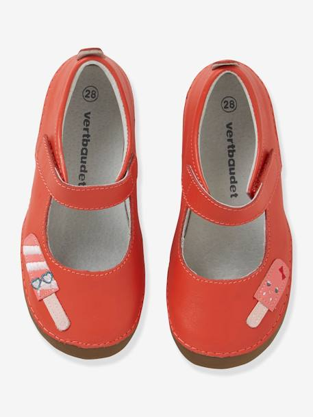 Leather Shoes with Touch-Fastening Tab, for Girls RED BRIGHT SOLID WITH DESIG - vertbaudet enfant