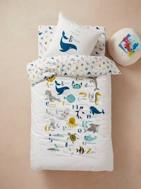 Bedding & Decor-Duvet Cover + Pillowcase Set for Children, Marine Animal Alphabet Theme