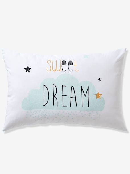 Duvet Cover + Pillowcase Set for Children, Happy Love Theme WHITE LIGHT SOLID WITH DESIGN - vertbaudet enfant