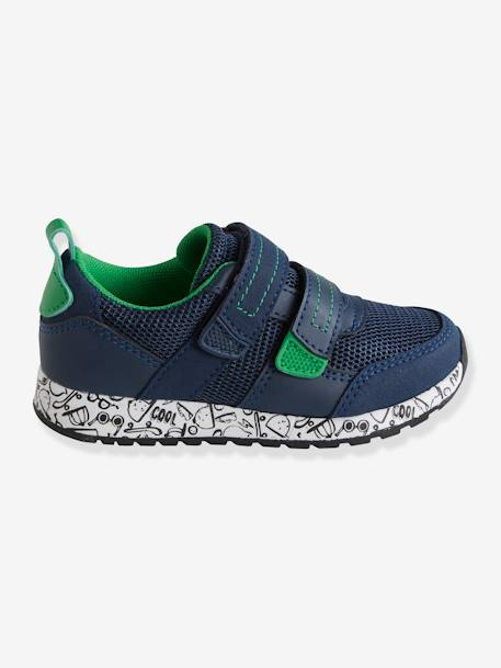 Trainers with Touch-Fastening Tabs for Boys, Designed for Autonomy BLUE DARK SOLID WITH DESIGN+GREEN MEDIUM SOLID WITH DESIG - vertbaudet enfant