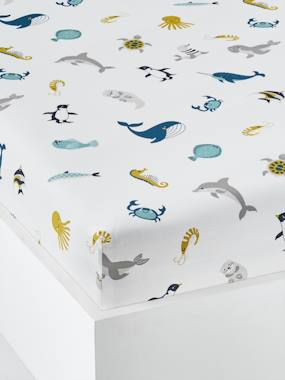 Bedding-Child's Bedding-Fitted Sheet for Children, Marine Animal Alphabet Theme