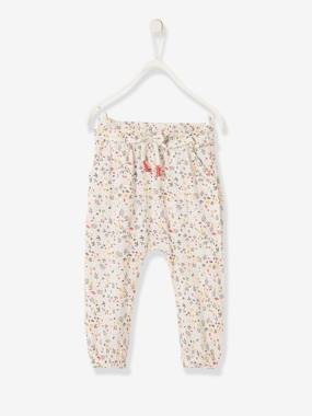 Vertbaudet Collection-Baby-Loose-Fitting Trousers with Flower Print for Baby Girls