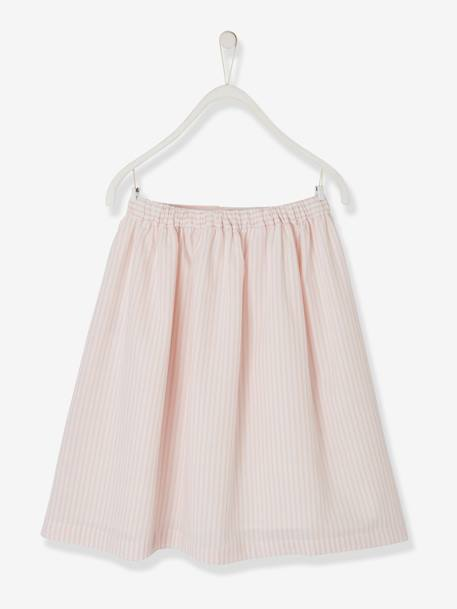 Long Striped Skirt for Girls PINK LIGHT STRIPED - vertbaudet enfant