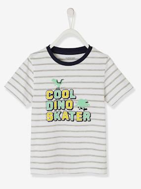 Boys-Tops-T-Shirts-Striped T-Shirt with Fun Inscription, for Boys
