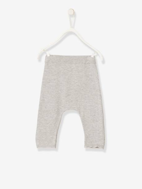 Knitted Trousers in Organic Cotton for Newborn Babies BEIGE LIGHT SOLID+GREY LIGHT MIXED COLOR - vertbaudet enfant