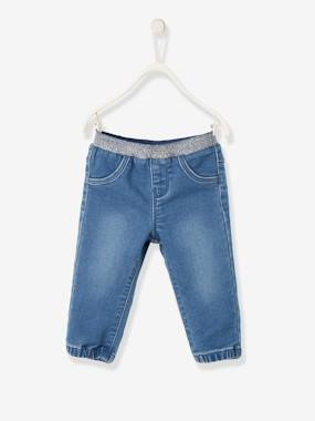 Baby-Trousers & Jeans-Denim-Effect Fleece Trousers for Baby Girls
