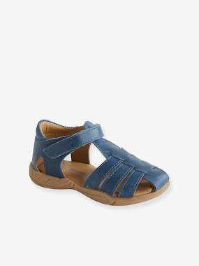 Vertbaudet Sale-Shoes-Touch-Fastening Leather Sandals for Boys