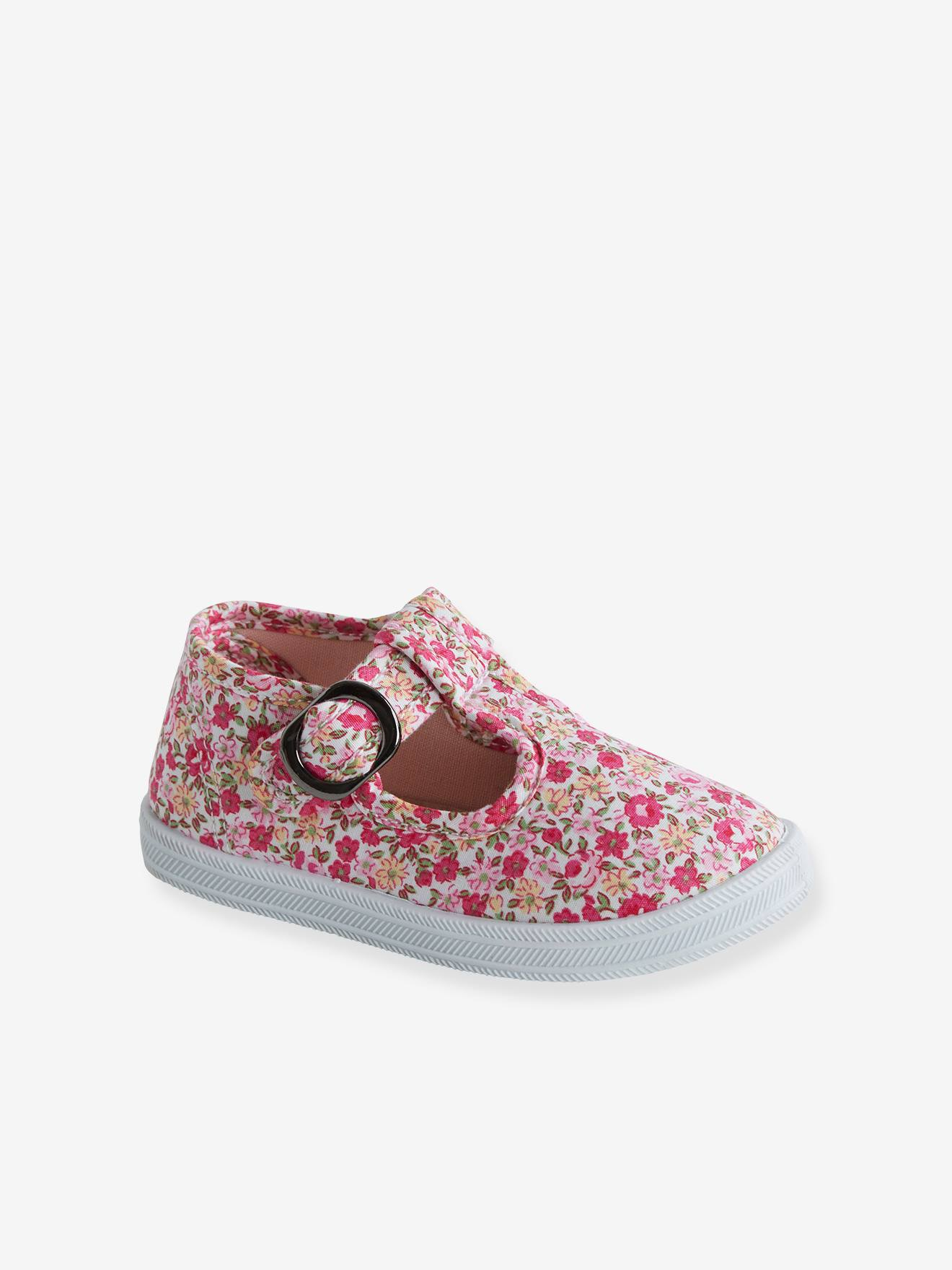 T Strap Sandals for Baby Girls, Designed for First Steps pink medium all over printed, Shoes