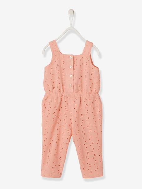 b47a3e212f84 Jumpsuit with Broderie Anglaise for Baby Girls - orange bright solid ...