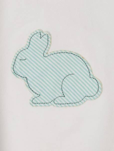 Bodysuit Top for Babies, with Rabbit WHITE LIGHT SOLID WITH DESIGN - vertbaudet enfant