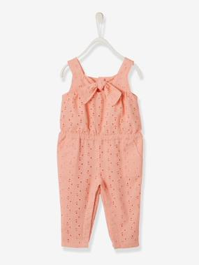 Baby-Dungarees & All-in-ones-Jumpsuit with Broderie Anglaise for Baby Girls