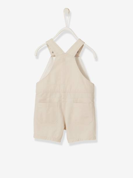 Baby Boys' Short Dungarees BEIGE MEDIUM SOLID - vertbaudet enfant