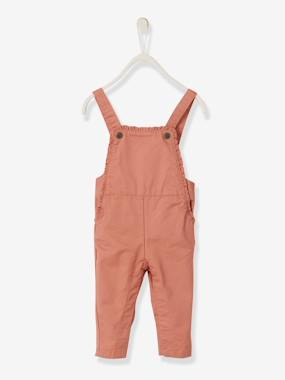 Baby-Dungarees & All-in-ones-Dungarees with Printed Motifs and Small Frills for Baby Girls