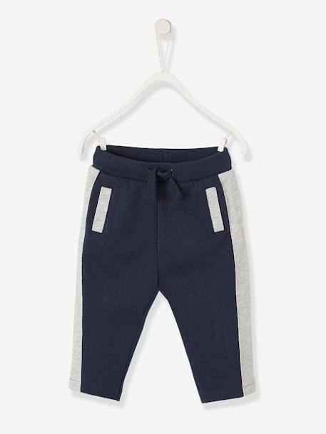 Fleece Straight Leg Trousers for Baby Boys BLUE DARK SOLID+GREY LIGHT MIXED COLOR - vertbaudet enfant